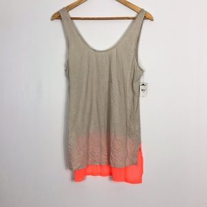 Express Beige & Coral Semi-Sheer Tank Top Large
